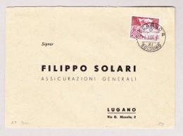 Schweiz Werbe 6.3.1950 Locarno #301 Urtype Auf Brief Nach Lugano - Schweiz
