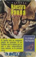 TARJETA DE ECUADOR  DE UN TIGRILLO    (GATO SALVAJE-CAT)