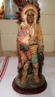ANCIENNE GRANDE SCULPTURE CHEF INDIEN Sur SOCLE AMERICAN LEGEND TBE 1878 Gramme - Sculptures