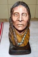 ANCIENNE LOURDE STATUE BUSTE EN ?? TERRE OU PIERRE ? 23 CM TETE INDIEN 1877 G - Sculptures