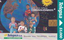 TARJETA DE COLOMBIA DE TELEPSA CON CHIP NEGRO (LA TIERRA) - Astronomy