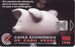 TARJETA DE CABO VERDE DE CAIXA ECONOMICA CON UNA HUCHA DE UN CERDO (PIG) MONEDA-COIN - Cape Verde