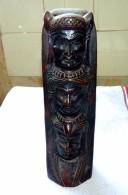 STATUE FIGURINE RESINE ? 3 TETES D'INDIENS TOTEM ETAT NEUF 25 Cm - Sculptures