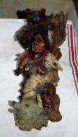 STATUE FIGURINE DECORATION MURALE INDIEN LOUP AIGLE OURS 34.5 X 15 Cm - Sculptures