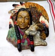 STATUE FIGURINE DECORATION MURALE INDIEN AVEC CHEVRE BON ETAT 20.5 X 17.5 Cm - Sculptures