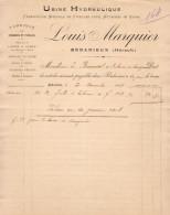 FABRIQUE DE FICELLES POUR ATTACHES DE VIGNE LOUIS MARQUIER à BÉDARIEUX HERAULT  .......... FACTURE   DE 1907 - Otros