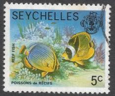 Seychelles. 1977 Marine Life. 5c Used. No Date Imprint SG 404A - Seychelles (1976-...)