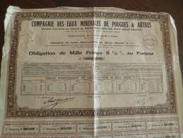 Action Obligation 1000 F 2 000 Ex Compagnie Des Eaux Minérales De Pouges Et Autres 1930 En L'état - Eau
