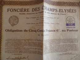 Action Obligation 500 F Foncière Des Champs Elysées 1933 - Banque & Assurance