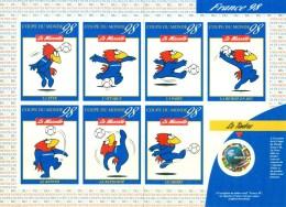 Feuillet Des 7 Auto- Collants Mascotte Footix  + Le TP N°3140.Plié Au Centre Suivant Les Dentelures - 1998 – Francia