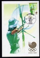 South Korea Olympics Seoul 1988 On Maximcard Archery. - Verano 1988: Seúl