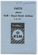 KLM -ROYAL DUTCH AIRLINES 1961 FACTS - Europe