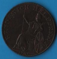 Middlesex, Brunswick  1/2 HALF PENNY 1795 Britannia  George III (1760-1820), Payable At J Kilvingtons - Professionals/Firms