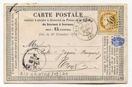 !!! CARTE PRECURSEUR CERES CACHET D´AIX EN OTHE ( AUBE ) 1875 - Entiers Postaux