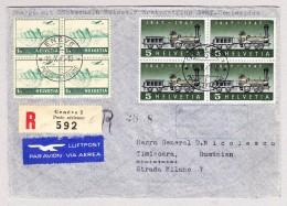 Schweiz Werbe 10.10.1947 Genève Poste Aérienne R-Brief Nach Timisoara Rumänien Via Erstflug Genf-Montevideo - Schweiz