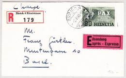 Schweiz Werbe 2.6.1945 Zürich 4 Exprès R-Brief Vorderseite Nach Basel Mit #269 80Rp Pax - Schweiz