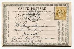 !!! CARTE PRECURSEUR CERES CACHET DE CLAIRVEAUX SUR AUBE 1876 - Precursor Cards