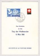 Schweiz Werbe 9.5.1945 Bern 1Fr Pax #270 Zum Andenken An Den Tag Waffenruhe 8 Mai 1945 PTT Faltblatt - Schweiz