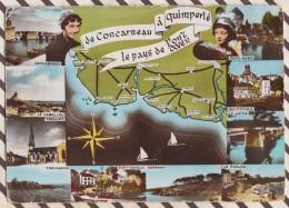 6AI2683 Carte Geographique DE CONCARNEAU A QUIMPERLE LE PAYS DE PONT AVEN REMA  2 SCANS - Carte Geografiche