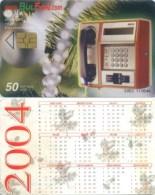 Telefonkarte Bulgarien - BulFon - Telefon - Tanne  - 50 Units  -  Kalender 2004 - Bulgarien