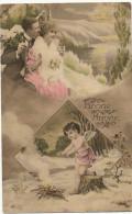 Angelot Nu Faisant Un Feu De Bois Couple Amoureux Cupid - Angeles