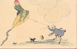 Illustrateur Max - Cerf-Volant Fille En Vert  Satire Avec Veste Violette - Illustrators & Photographers