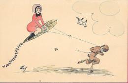 Illustrateur Max - Cerf-Volant Fille En Rouge Et  Satire Nu - Illustrators & Photographers