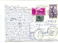 """ITALIE - Carte Postale Affranchie Avec Timbre Spécial """"expres"""" Pour La France - Machine Stamps (ATM)"""