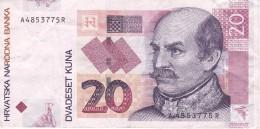 BILLETE DE CROACIA DE 20 KUNA DEL AÑO 2001  (BANKNOTE) - Croacia