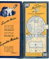 Carte Géographique MICHELIN - N° 088 PARIS NORD 1951 - Wegenkaarten