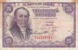 BILLETE DE ESPAÑA DE 25 PTAS DEL 19/02/1946 SERIE I  CALIDAD BC (BANKNOTE) - [ 3] 1936-1975 : Regency Of Franco