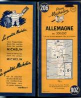 Carte Géographique MICHELIN - N° 206 ALLEMAGNE Stuttgart-Ulm 1953 - Roadmaps