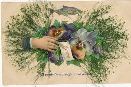 Tres Belle Carte Chromo Avec Ajoutis Divers Poisson Avril, Main, Pensée , Herbes - Cartes Postales