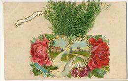 Tres Belle Carte Chromo Avec Ajoutis Divers Roses, Colombe,  Herbes - Cartes Postales