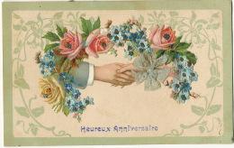 Tres Belle Carte Chromo Avec Ajoutis Divers Poignée De Main, Myosotis, Roses, Ruban Soie - Cartes Postales
