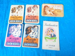 Lot Cartes Parfumées Savon Rodoll -jabon Rodoll-creme Giraud-rodoll Soap  Giraud Lyons-lt Piver-bebe Sa Maman-joli Soir - Perfume Cards