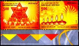 JOINT ISSUES-INDIA-ISRAEL-FESTIVALS OF LIGHT-DEEPAVALI & HANUKKAH-SETENANT PAIR-INDIA-2012-MNH-TP-342 - Joint Issues