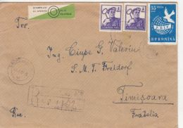 44094- WORKER, WOMEN'S FEDERATION CONGRESS, FOLKLORE COSTUMES, MUSHROOMS, STAMPS ON REGISTERED COVER, 1959, ROMANIA - Cartas