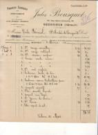 PRODUITS CHIMIQUES ET DROGUERIE JULES BOUSQUET à BÉDARIEUX - HÉRAULT .......... FACTURE DE 1907 - Perfumería & Droguería