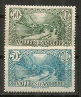 Le Pont De St Antoine à La Massana,  Année 1932, 2  Timbres Neufs ** Différents. Côte 16.50 €uro. - Andorre Français