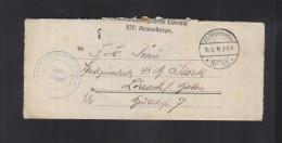 Dt. Reich Feldpostbrief 1916 Zensur Lörrach - Deutschland