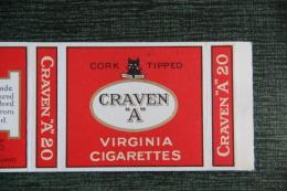 """Etui De Paquet De 20 Cigarettes """" CRAVEN A"""", LONDON - Etuis à Cigarettes Vides"""