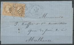 Lot N°31411    Paire Du N°28B, Oblit  GC 1402 EPINAL(82), Avec Cachet Convoyeur Station A Numéro Du 3 Dec 1869 - 1863-1870 Napoléon III Lauré