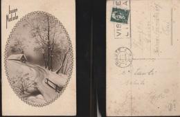 6011) AUGURALE PAESAGGIO INVERNALE INNEVATO IN OVALE VIAGGIATA 1939 - Natale