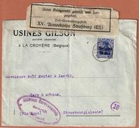 La Croyère Belgique Avec Censure XV. Armeekorps Straßburg Els.  - Usines Gilson - Guerre 14-18