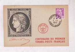 CENTENAIRE DU PREMIER TIMBRE POSTE FRANCAIS  SUR CARTE POSTALE - Marcophilie (Lettres)