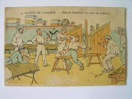 Cpa, Très Belle Carte Signée, Illustrateur, AP. Jarry, Scène De Caserne, Dans La Chambrée (le Salon De Coiffure) - Autres Illustrateurs