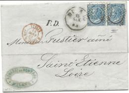 Italie - YT22 (x2) Type 2 Sur Lettre De Milan Pour St Etienne (Loire) - 1867. Entrée Par L'ambulant Du Mont-Cenis - Marcophilie (Lettres)