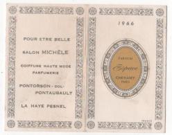 CALENDRIER  - 1966 Petit Format - PARFUM Espace  CHERAMY - PARIS - Pub Salon Michèle /pontorson/ La Haye Pesnel - Petit Format : 1961-70