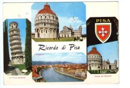 Q2069 CARTOLINA Di Ricordo Da Pisa - Multipla Con Stemma - VIAG. 1966 - Toscana Italia, Italy - Pisa